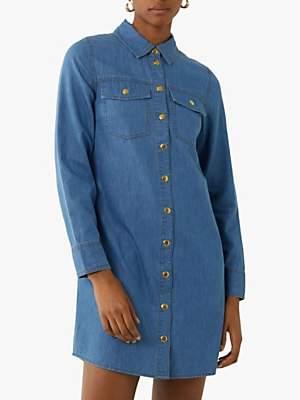 Warehouse Cotton Mini Shirt Dress, Mid Wash Denim