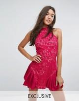 Missguided High Neck Pleated Hem Bodycon Dress