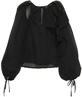 3.1 Phillip Lim Cutout Ruffled Crinkled Cotton And Silk-blend Blouse