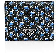 Prada Women's Floral-Print Leather French Wallet