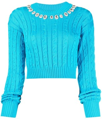 Giuseppe di Morabito Crystal Embellished Cropped Jumper