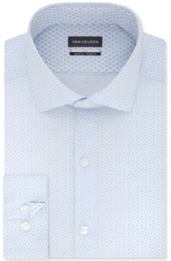 Van Heusen Men's Slim-Fit Non-Iron Air+ Performance Stretch Geometric Pattern Dress Shirt