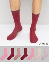 Asos Socks In Pink 7 Pack