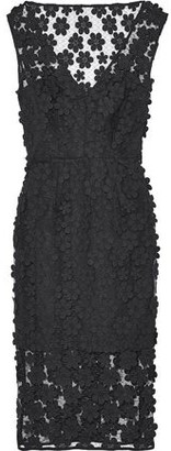 Milly Mari Floral-appliqued Mesh Dress