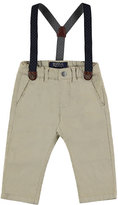 Mayoral Stretch Twill Straight-Leg Pants w/ Suspenders, Sand, Size 12-36 Months