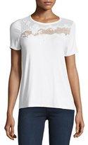 Elie Tahari Natasha Floral Appliqué T-Shirt