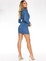 Quiz Long Sleeve Button Through Midi Dress - Denim Blue