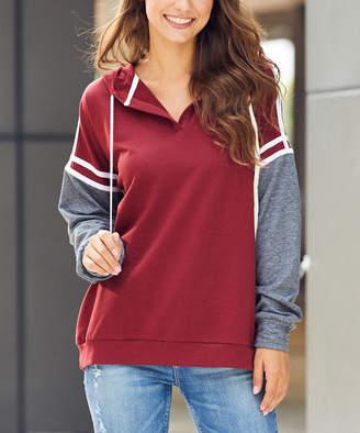 Luukse Women's Sweatshirts and Hoodies 101BUDRGUNDY/CHARCOAL/WHITE - Burgundy & Charcoal Varsity-Stripe Hoodie - Women & Plus