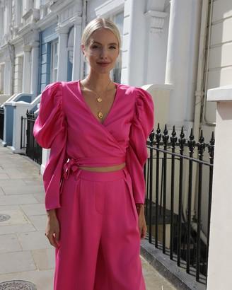 The Drop Women's Fuchsia Deep V-Neck Puff Long Sleeve Wrap Crop Top by @leoniehanne XXS