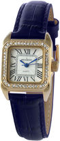 Peugeot Womens Gold Tone And Blue Leather Strap Watch 3052BL