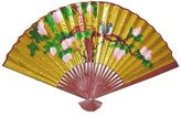 Oriental Furniture Asian Art, Decor Gifts, 42-Inch Japanese Yellow Painted Decorative Wall Fan with Blue Birds, Golden No.4