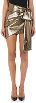 Saint Laurent Women's Bow-Accented Lamé Miniskirt