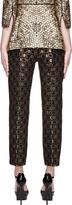 Alexander McQueen Black & Gold Honeycomb Jacquard Slit Front Trousers