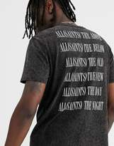 AllSaints leopard print logo t-shirt with back print in vintage black