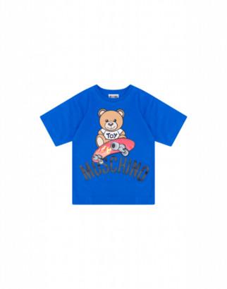 Moschino Skateboarder Teddy Bear Maxi T-shirt Unisex Blue Size 4a It - (4y Us)