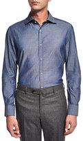 Isaia Washed Long-Sleeve Shirt, Blue