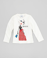 Armani Junior Fashionista-Print Long-Sleeve Tee, 2Y-8Y