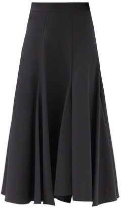 Jil Sander High-rise Godet-panel Twill Midi Skirt - Black