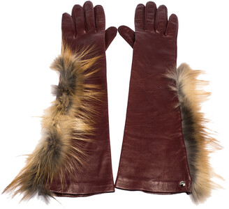 Fendi Maroon Fox Fur and Leather Long Gloves