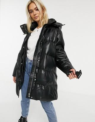 ASOS DESIGN leather look belted puffer jacket in black