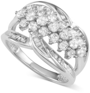Macy's Diamond Cluster Open Statement Ring (1-1/2 ct. t.w.) in 14k White Gold