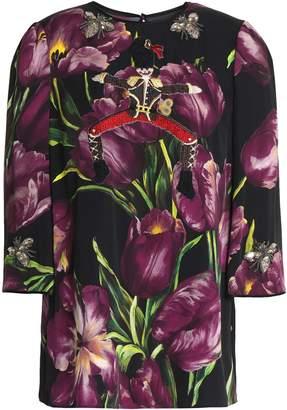 Dolce & Gabbana Appliqued Floral-print Stretch-silk Top