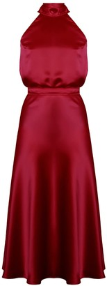 Undress Noma Deep Red Halter Neck Midi Dress With Back Ribbons