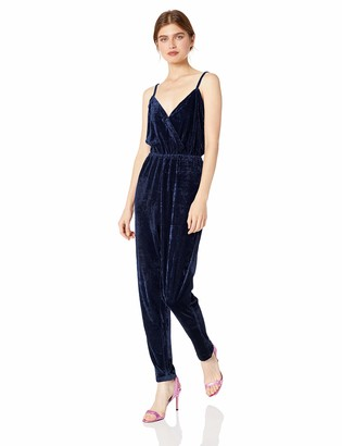 Cupcakes And Cashmere Women's Cameo Velvet Cross Front Jumpsuit w/Tapered Leg