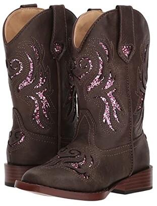 Roper Glitter Breeze (Toddler/Little Kid) (Brown Faux Leather/Glitter) Cowboy Boots