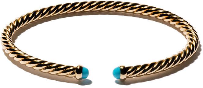 David Yurman 18kt yellow gold Cable Spira turquoise cuff bracelet