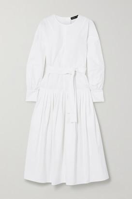 Proenza Schouler Belted Pleated Stretch-cotton Poplin Midi Dress - White