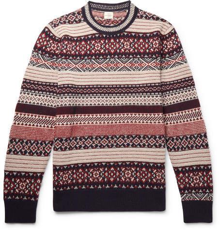 Kent & Curwen Davidstow Fair Isle Wool And Alpaca-Blend Sweater