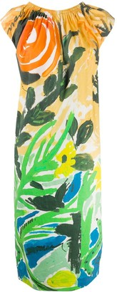 Marni Brushstroke Floral Print Dress