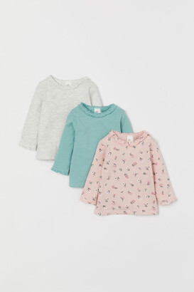 H&M 3-pack Ruffle-trimmed Tops - Gray