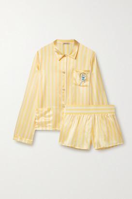 Morgan Lane Ruthie Corey Embellished Embroidered Striped Satin Pajama Set - Yellow
