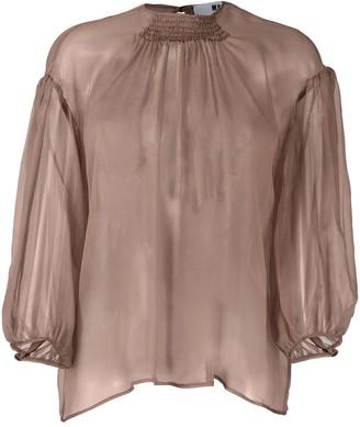 MSGM Sheer Puff-Sleeve Blouse