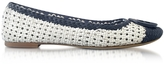 Tory Burch Pasadena Navy Sea and White Woven Leather Ballet Flats