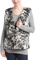Black & White Stripe Hyena-Print Faux Fur Vest
