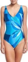 Gottex Kaleidoscope-Print Surplice V-Neck One-Piece Swimsuit