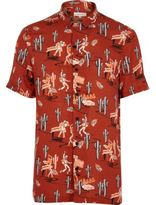 River Island Mens Red day of the dead print short sleeve shirt