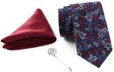 Ben Sherman Floral Tie, Solid Pocket Square, & Lapel Pin Box Set