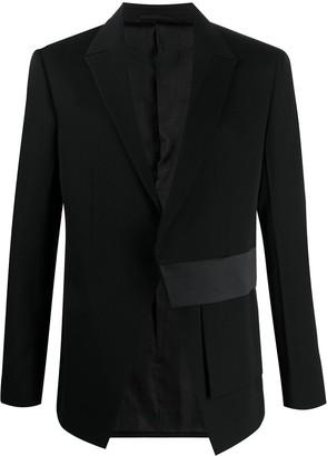 Alyx asymmetric satin-panel blazer