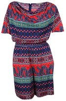 NY Collection Womens Plus Printed Short Sleeves Romper Multi