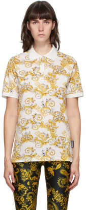 Versace Jeans Couture White Baroque Logo Polo