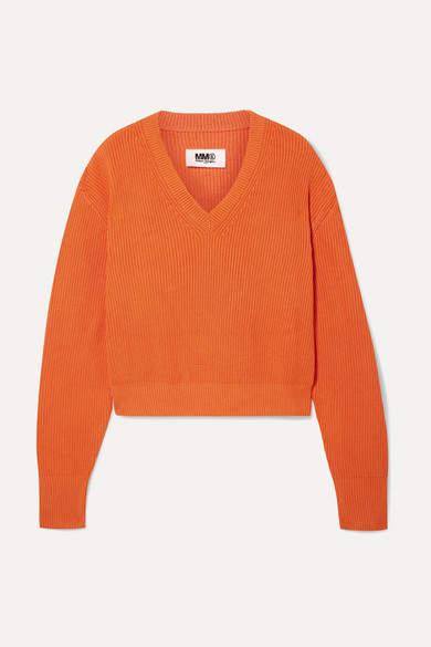 MM6 MAISON MARGIELA Ribbed-knit Sweater - Orange