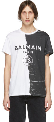 Balmain Black and White Printed T-Shirt