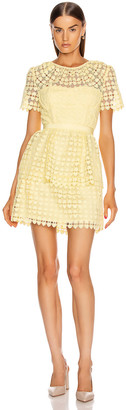 Self-Portrait Heart Lace Mini Dress in Yellow | FWRD