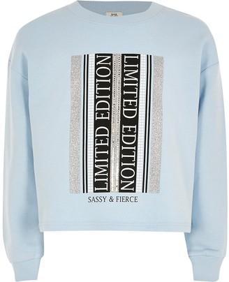 River Island Girls blue printed embellished sweatshirt