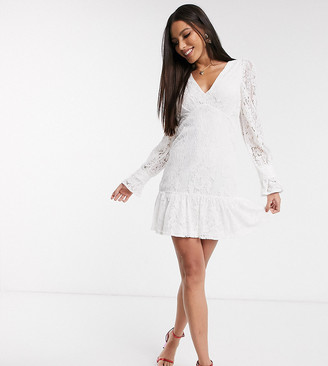 Outrageous Fortune Tall plunge front lace skater dress in white