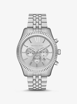 Michael Kors Oversized Lexington Silver-Tone Aluminum Watch - Silver
